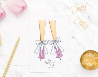Wifey card, Bridal shower card, Wedding greeting card, Card for Bride, Card for her, High heel greeting card, Fashion card, Bow tied heel