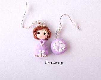 Princess Sofia earrings, polymer clay, handmade