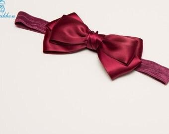 wine hair bow headband - elastic hair band - you choose color 121e