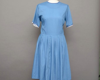 Sky blue 50's tea dress, cute swing skirt UK 12-14