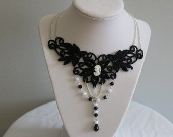 Black Lace Cameo Necklace