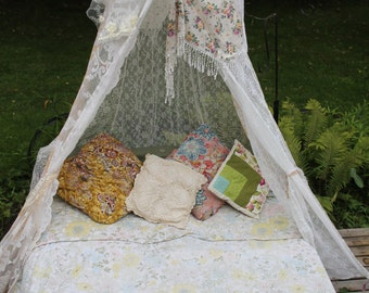 vintage lace canopy lace scarf bed tent white tent boho tent photo