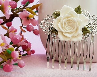 Bridal Hair Comb, White Wedding, Bridesmaid Gift, White Flower Comb, Wedding Hair Accessories, White Rose Comb, Maid of Honor Gift, H2024
