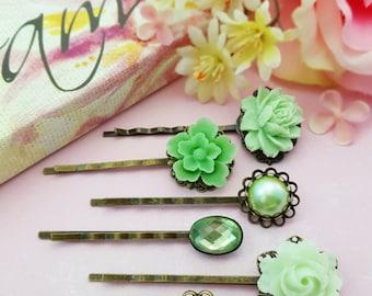 Green Bobby Pins, Peridot Hair Pins, Sage Bridesmaid, Set of 6, Sage Green Wedding, Wedding Hair Pin, August Birthstone, Mint Green, H4021