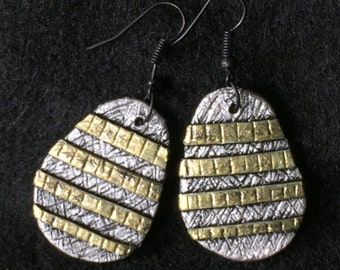Earrings Distressed Boho Polymer Clay Metallic Industrial Jewelry Casual Dangles DIVISION by ArtCirque Donna Pellegata
