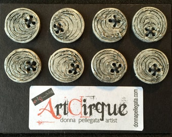 8 Small Round Polymer Clay Buttons, Handcrafted, Distressed Natural Clay