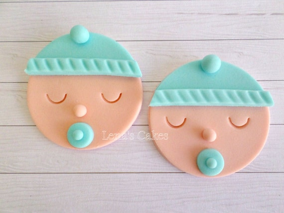 Baby boy shower cupcake fondant toppers gender reveal party for Baby shower cupcake decoration