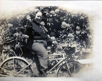 Vintage Photo..I Like to Ride My Bicycle 1930's, Original Photo, Old Photo Snapshot, Vernacular Photography, American Social History Photo