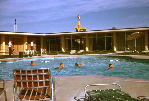 Vintage Photo Slide..Pool at The Holiday Inn 1960, Original 35mm Photo Slide, Vernacular Photography, American Social History Photo