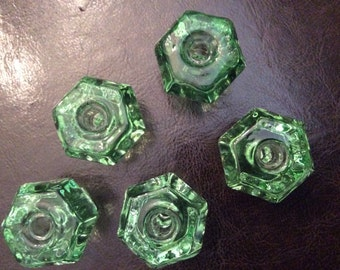 5 Vintage Coke Bottle Green Glass Knobs or Pulls