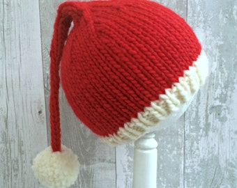 Kids Santa Hat, Knit Santa Hat Kids, Teen Santa Hat, Child Santa Hat, Kids Christmas Hats, Red Knitted Stocking Cap, Pom Pom Pixie Hat