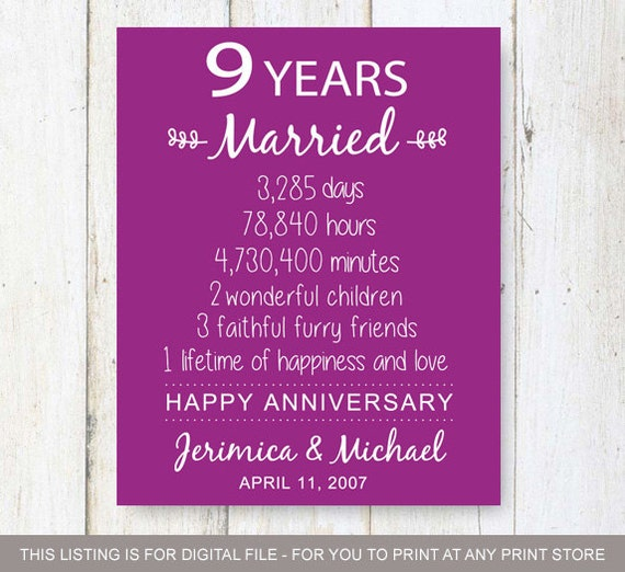9th Year Wedding Anniversary Gifts: 9th Anniversary Gift Nine Years Of Wedding Anniversary