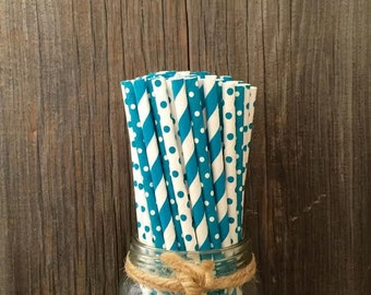 75 Teal Blue Stripe and Polka Dot Paper Straws -  Birthday Party Supply - Free Shipping!