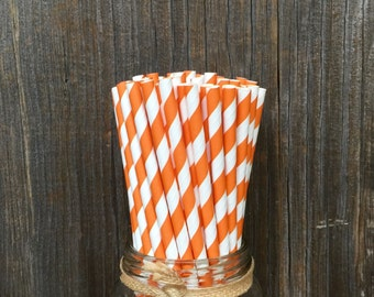 Orange Straws, 100 Stripe Straws, Orange Paper Straws,  Birthday Party,  Party Straw, Paper Straws, Baby Shower, Wedding,  Free Shipping