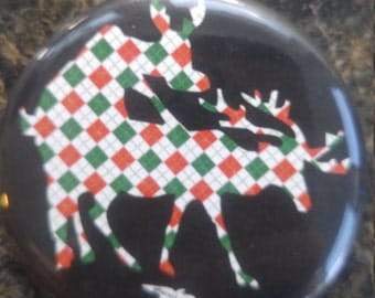 Humping reindeer christmas argyle button or bottle opener