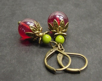 Boy earrings bronze red fruits