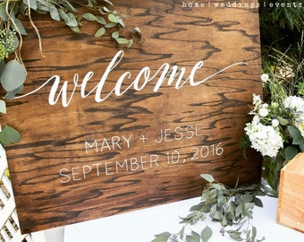 Wooden Wedding Welcome Sign - Wedding / Ceremony Sign - Wooden Hand Lettered Sign in 2 sizes- ORIGINAL DESIGN