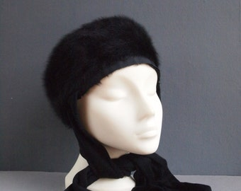 Kangol hat/black hat/fur hat/angora hat/80s hat/black beret/hat and scarf/earwarmers/winter hat/designer hat/furry hat/mod hat/retro hat