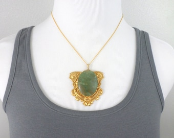 Large Gold Necklace Green Aventurine Large Medallion Pendant Necklace Victorian Style Vintage Necklace Jewelry