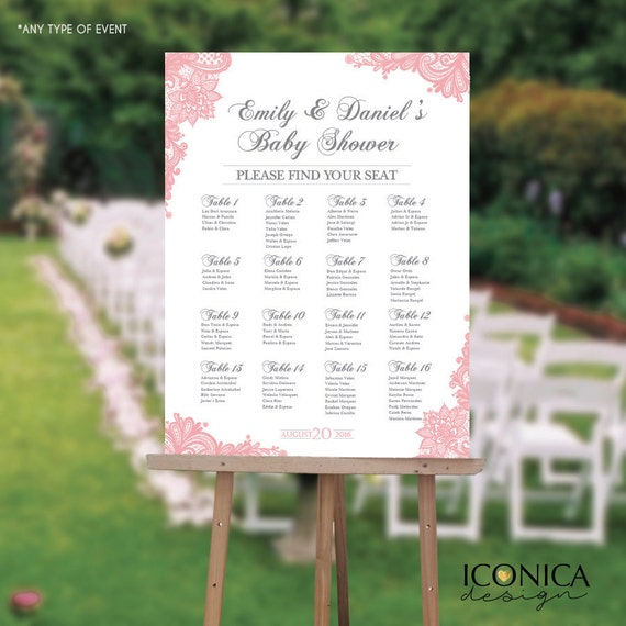 Seating Chart Board Elegant Baby Shower Seating Chart Guest List - Event seating chart template