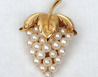 Gold and Pearl Crown Trifari Signed Grape Cluster Brooch, Beautiful Vintage