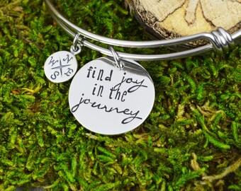 Find Joy in the Journey Adjustable Bangle Bracelet - Stacking Bangle