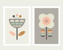 Scandinavian Flowers (Grey,Pink and Mint),Series of Two. Kids room art,Scandinavian,Girls room art,Modern kids art,Nursery art,Nursery decor