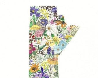 Manitoba Province Map Wildflowers  8x10 print