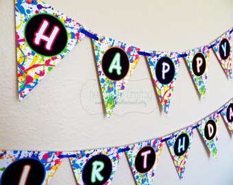 Glow In The Dark Party Happy Birthday Banner / Neon Birthday Banner / Blacklight Party - Print Your Own - FILE to PRINT
