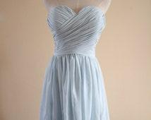 Light Blue Sweetheart Bridesmaid Dress Knee-length/Floor length Light Mint Chiffon Strapless Bridesmaid Dress