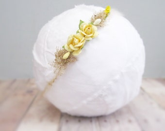 Baby Flower Tieback, Baby Flower Halo, Newborn Flower Crown Headband Baby Girl, Newborn Photo Prop, Newborn Headband