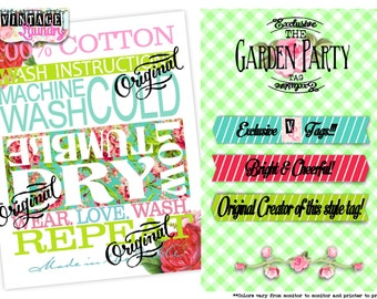 Garden Party- Care Instructions PNG JPG Download File Wash Instructions Tag Label