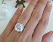 5 ctw Cushion Ring, Halo Engagement Ring, Man Made Diamond Simulants, Bridal Filigree Ring, Wedding Ring, Promise Ring, Sterling Silver