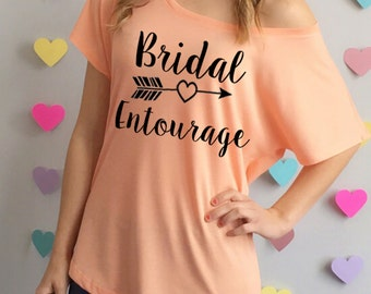 Bridal Entourage Slouchy off the Shoulder Tee Shirt. Bridesmaid Shirt. Brides Entourage Shirts. Bridal Party T-Shirts. Bachelorette Party.