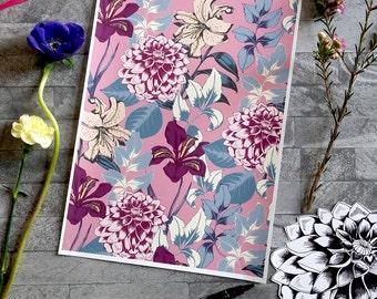 Botanical Print, Floral Giclee Print, Home Decor Wall Art, Dahlia Print, A4