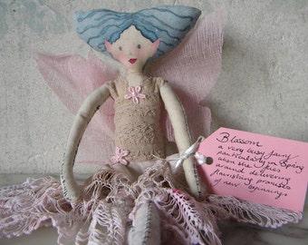 Fairy soft sculpture. Blossom, a hand made Fairy Art Doll.
