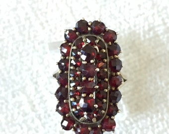 Sale Victorian Bohemian Garnet  GP Over Silver Ring Size 4.5