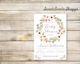 Floral Wreath Baby Shower Invitation, Watercolor Boho Flowers Invitation, Anemone Flowers Baby Shower Invitation, Rustic Floral Invitation