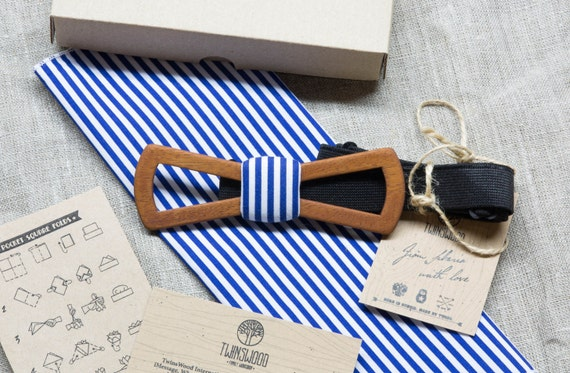 FREE SHIPPING!!! Wooden bowtie marine color   + pocket square. Man wood bowtie. Men Accessories. 100% hand made. Best xmas / birthday gift.