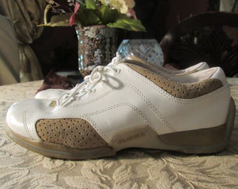 White and Tan Sneakers -  Size 7 1/2 M (Womens)