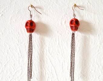 Red Howlite Skull Earrings with Drop Fringe