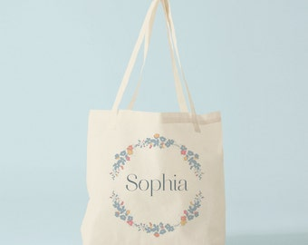 Tote bag with the name of your choice in the flowers wreath, custom tote bag, name, groceries bag, canvas bag, laptop bag, novelty gift.