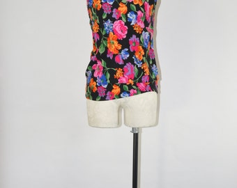 90s bright floral camisole / 1990s sleeveless rayon top / vintage rainbow tank top
