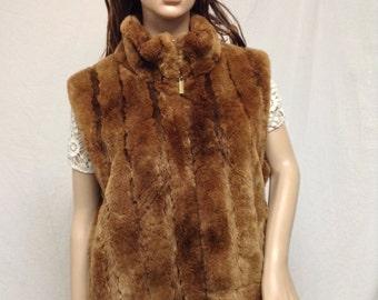 Faux Fur Vest, Reversible vest,Brown fur vest,with pockets
