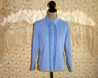 Womens Clothing Corduroy Blouse Blue Shirt Small Long Sleeve Button Up Embroidered Periwinkle Sigrid Olsen Vintage Clothing Corduroy Shirt