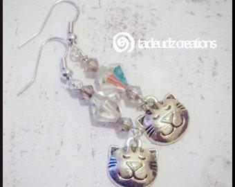 Sleepy Kitty Earrings with Swarovski Crystals