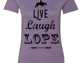 Western Horse Shirt, Live Laugh Lope, Country Style Equestrian Shirt in Vintage Purple, Women Ladies Teens