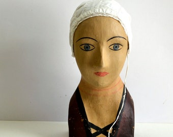 Vintage French paper mache mannequin head for hats Marotte