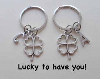 Four Leaf Clover Keychains, Best Friends Keychains, Couples Key Rings, Husband Wife, Girlfriend Boyfriend Gift, Sisters, Lucky to have you