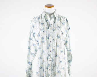 Vintage Western Shirt | 1970s Cowboy Floral Pattern | Pearl Snap Buttons | Medium